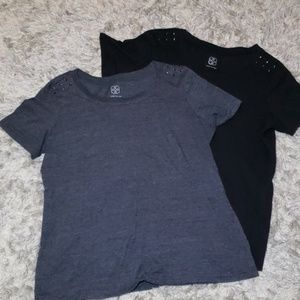Daisy Fuentes Tees with Studded Shoulder Detail